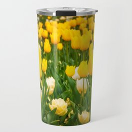 Yellow and white tulips in Canberra in Spring Travel Mug