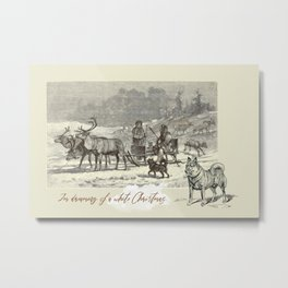 Nothern winter scene with Dogs and Reindeers team Metal Print