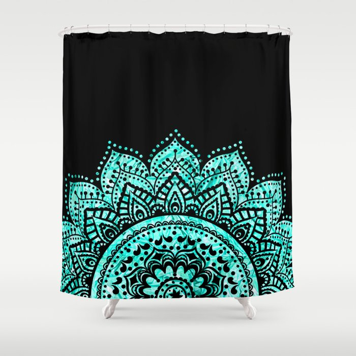 Black Teal Mandala Shower Curtain By Haroulita