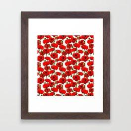 Red Poppy Pattern Framed Art Print
