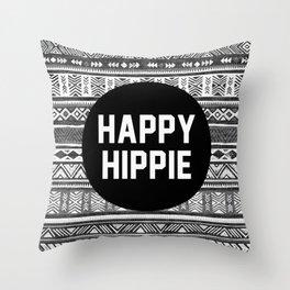 Happy hippie - b&w Throw Pillow