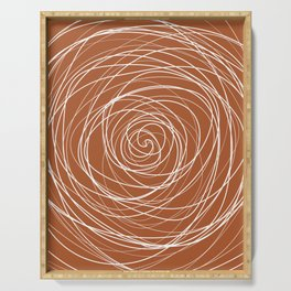 6-314-4n, Burnt Orange & White spirals messy lines, Abstract fabric design, Boho decor, Serving Tray