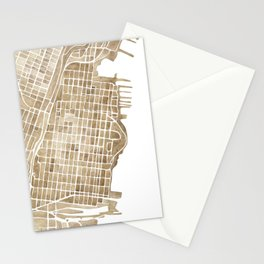 Hoboken New Jersey city map Stationery Cards