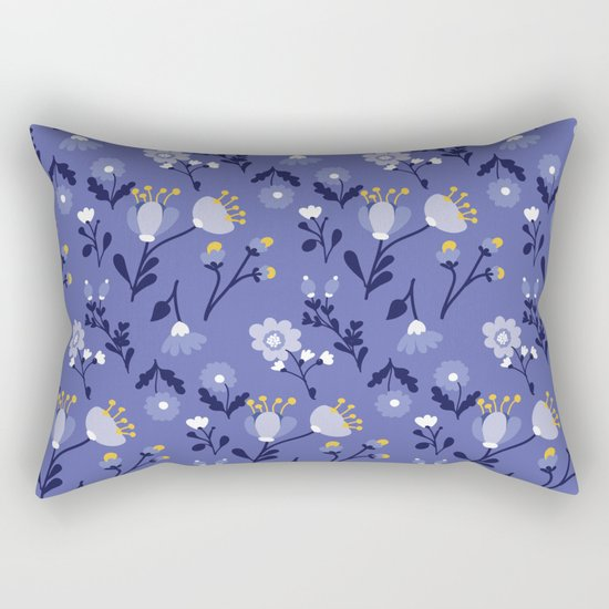 Blue Vintage Flower Pattern Rectangular Pillow