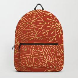 Gold Mandala Pattern On Red Backpack