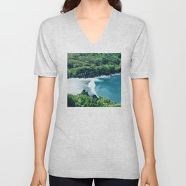 Tropical Ocean Cove With Rogue Wave and Wild Surf Unisex V-Neck