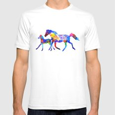 Horses MEDIUM White Mens Fitted Tee