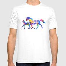 Horses MEDIUM Mens Fitted Tee White