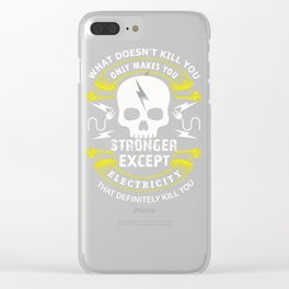 Funny Electrician Electricity Sparky Humor print Clear iPhone Case