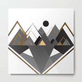 Art Deco Mountain Teepees In Grey Metal Print