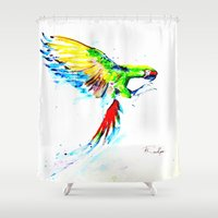 military Shower Curtains featuring Military Macaw by ARealpe