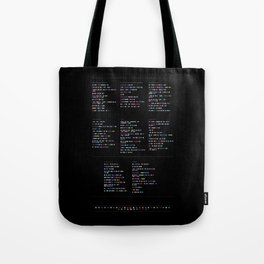 Death Cab for Cutie Discography - Music in Colour Code (Dark Background) Tote Bag
