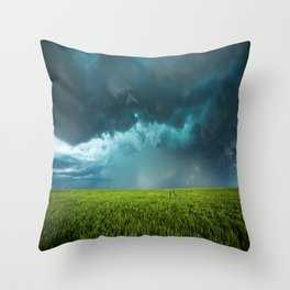 April Showers - Colorful Stormy Sky Over Lush Field in Kansas Throw Pillow