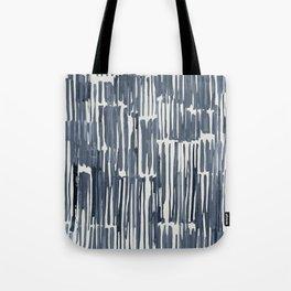 Simply Bamboo Brushstroke Indigo Blue on Lunar Gray Tote Bag