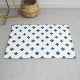Blue Swiss Cross Pattern Rug