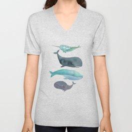 I love whales Unisex V-Neck