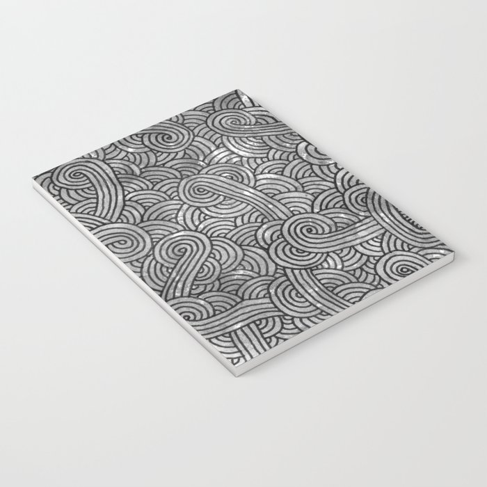Grey and black swirls doodles Notebook
