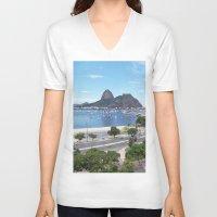 rio de janeiro V-neck T-shirts featuring Rio de Janeiro Landscape by Fernando Macedo