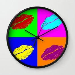 Colorful pop art lipstick kiss Wall Clock