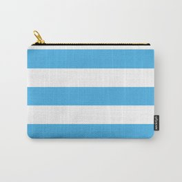 Picton blue - solid color - white stripes pattern Carry-All Pouch