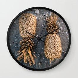 Gold Pineapple Print Wall Clock