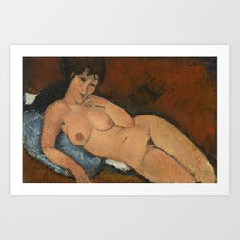 Amadeo Clemente Modigliani - Nude on a Blue Cushion (1917) Art Print