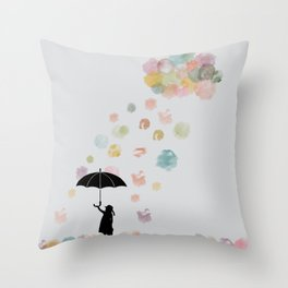 Colorful snow in Winter Throw Pillow