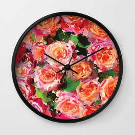 Melted Roses Wall Clock