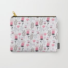 Mod Floral Pink + Gray Carry-All Pouch