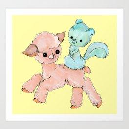 sew kewt pastel goth creepy stitched creatures Art Print