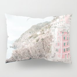 Positano, Italy pink-peach-white travel photography in hd. Pillow Sham