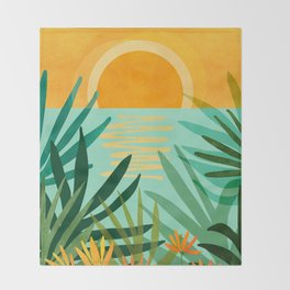Peaceful Tropics / Sunset Landscape Throw Blanket