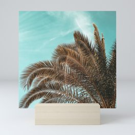 Summer Palm Leaf Print {1 of 3}   Teal Sun Sky Beach Vibes Tropical Plant Nature Art Mini Art Print