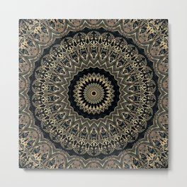 Gold Filigree Mandala Metal Print
