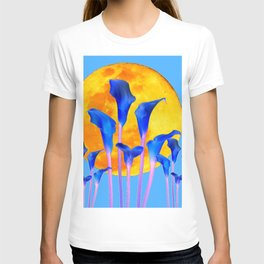 GOLDEN FULL MOON BLUE CALLA LILIES BLUE ART T-shirt