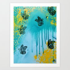 Teal Sky Tangerine Petals Art Print
