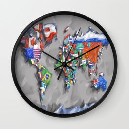 world map with flags Wall Clock