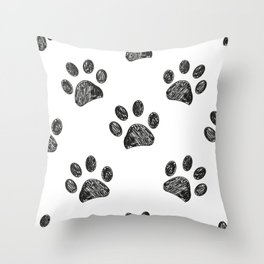 Black Paw Print Background Throw Pillow