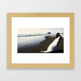 Girl On Oregon Beach  Framed Art Print