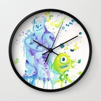 monsters inc Wall Clocks featuring Monsters by Gina Juarez