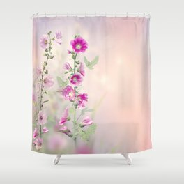Pink and red Hollyhock flowers blooming in the garden Shower Curtain