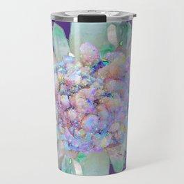 SPARKLING GREEN & PURPLE QUARTZ CRYSTALS PURPLE ART Travel Mug