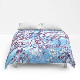 animal skin layers textured in teal and deep purple Comforters