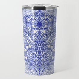 Happy Place Doodle in Cornflower Blue, White & Grey Travel Mug