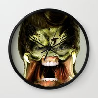 chuck Wall Clocks featuring Chuck Predator  by Jack