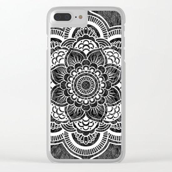 Mandala Slate Gray Colorburst Clear iPhone Case