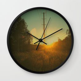 Powerline Sunset Wall Clock