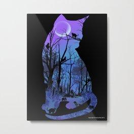 CAT MOON Metal Print