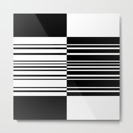 Black and White Abstraction Metal Print