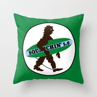sasquatch Throw Pillows featuring Sasquatch Squatchin' Surfing Bigfoot by mailboxdisco